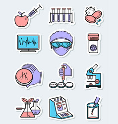 science and genetic laboratory icons set in thin vector image
