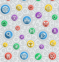 Social Networking Flat Outline Multicolor Pattern vector image