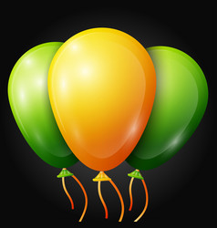 Realistic green yellow balloons with ribbons vector