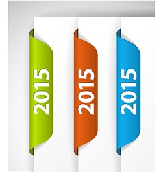 2015 labels stickers on the edge of the web page vector
