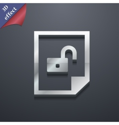 File unlocked icon symbol 3d style trendy modern vector