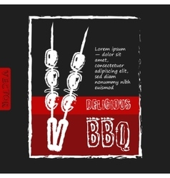Bbq poster stylized like sketch drawing on the vector