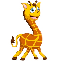 Cartoon adorable giraffe on white background vector
