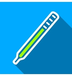 Medical thermometer flat long shadow square icon vector