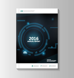 Blue tech annual report leaflet brochure vector