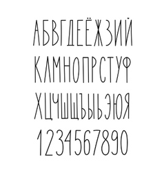 Doodle russian cyrillic narrow alphabet vector