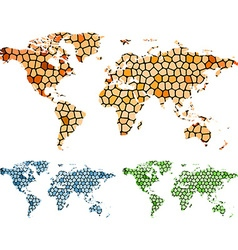 Abstract mosaic map of the world vector