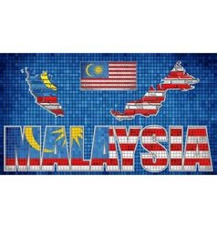 Malaysia map on a brick wall vector