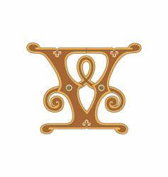 golden letter v vector image