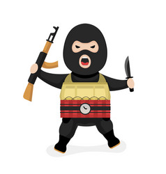 angry terrorist modern flat style vector image vector image