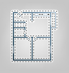 apartment house floor plans blue icon vector image