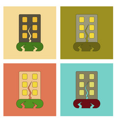 Assembly flat icons earthquake house vector