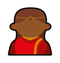 Avatar face indian woman red traditional clothes vector