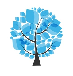 Beautiful Blue Tree on a White Background E vector image