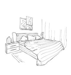 Bedroom modern interior sketch vector