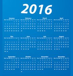 blue 2016 calendar modern simple design vector image