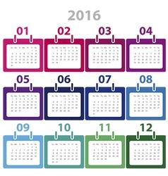 Calender 2016 minimal design vector