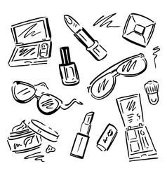 Cosmetics Makeup set vector image vector image