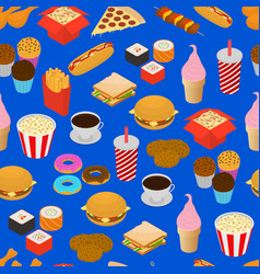 fast food seamless pattern background isometric vector image