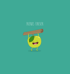 flat cute and funny green apple fruit set in vector image vector image