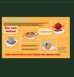 Food items for cafe in bright colors in horizontal vector