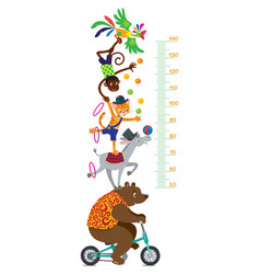 Funny circus animals meter wall or height chart vector