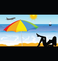 girl on the beach part two vector image vector image