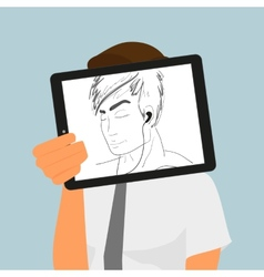 Guy holds tablet pc displaying hand drawing vector image