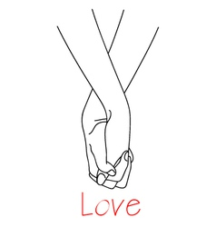 hands of falling in love vector image vector image