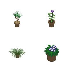 Isometric flower set of flowerpot houseplant vector