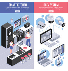 isometric smart home banner set vector image vector image