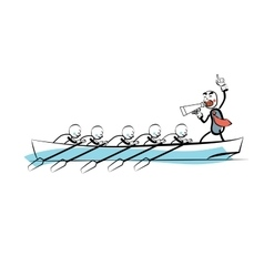 Leader teamwork business concept boat rowers vector