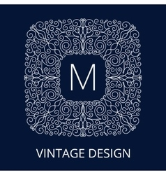 Luxury vintage blue frame for monogram vector