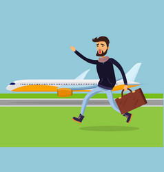Man with suitcase running to passenger plane vector