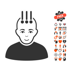 neural interface icon with dating bonus vector image
