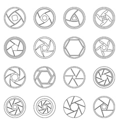 Photo diaphragm icons set outline style vector