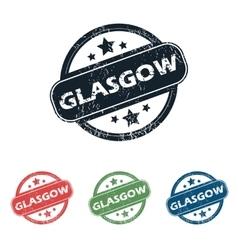 Round glasgow city stamp set vector