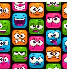 Seamless pattern with funny cartoon colorful faces vector image vector image