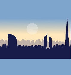 Silhouette of dubai building beauty landscape vector