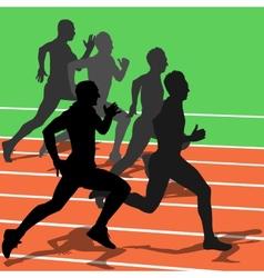 Silhouettes athletes running in the stadium vector