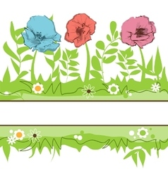 Floral borders green grass and flowers field vector