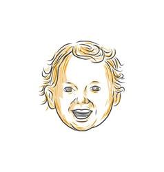 Caucasian toddler smiling drawing vector