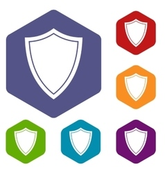 Shield for war icons set vector
