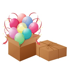 Balloons with boxes vector