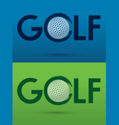 Golf text with golf ball vector