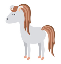 Light colors of cartoon female horse with mane and vector