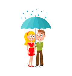 Young couple walks keeping umbrella vector