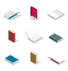 set of flat books in 3d vector image