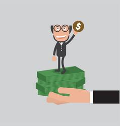 businessman raise hand up vector image