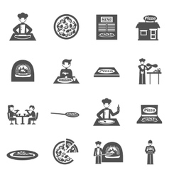 Pizzeria and pizza delivery icons set vector